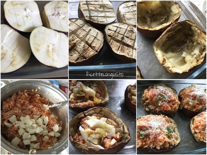 Barchette di melanzane con riso filante