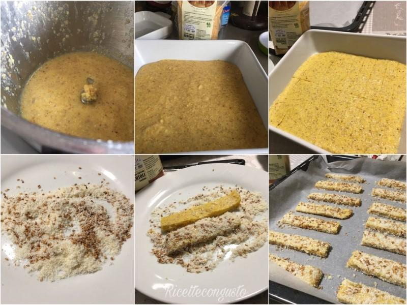 Bastoncini di polenta al formaggio e sesamo