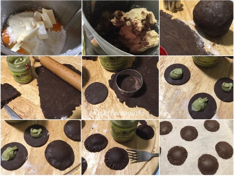 Biscotti integrali al cioccolato ripieni con crema di pistacchio