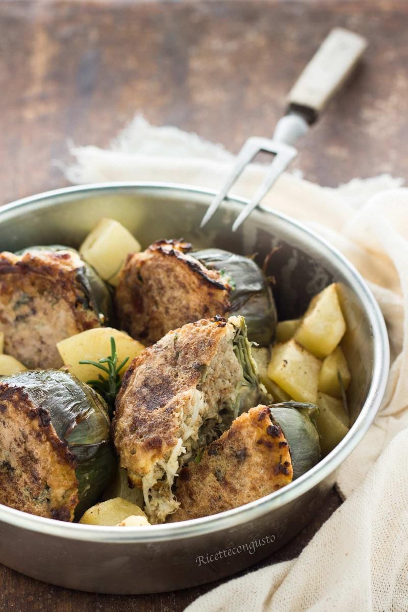 Carciofi ripieni alla siciliana al forno con patate