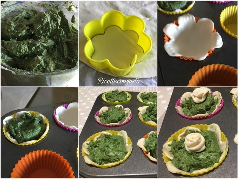 Cestini di sfoglia con ricotta spinaci