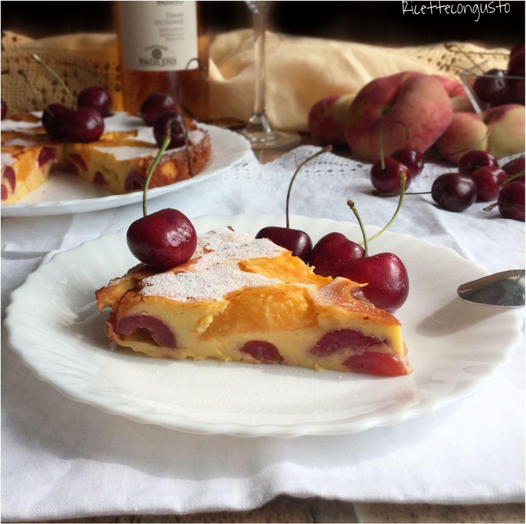 Clafoutis di ciliegie e pesche con ricotta senza glutine