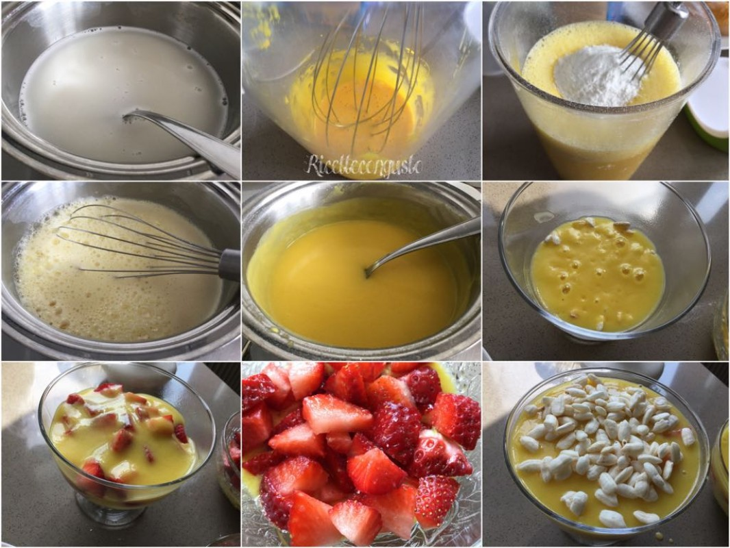 Coppetta di crema pasticcera al latte di riso, fragole e riso soffiato