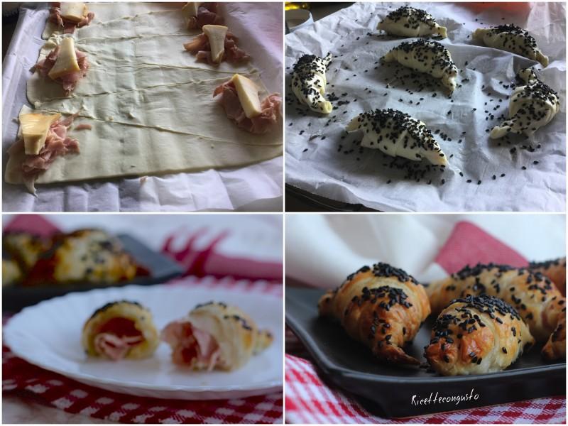 Mini croissant farciti con scamorza e prosciutto cotto