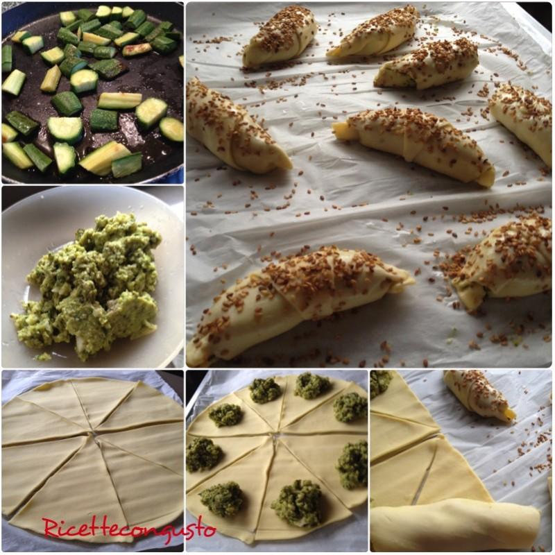 Cornettini salati alla crema di zucchine