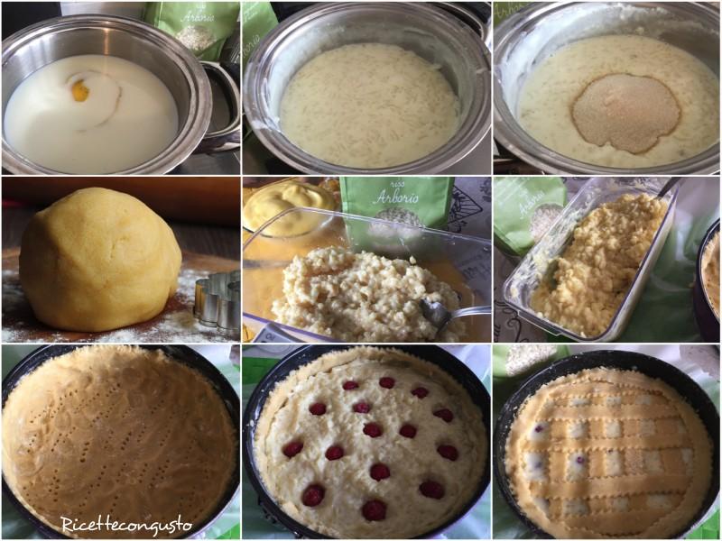 Crostata con crema di riso e lamponi