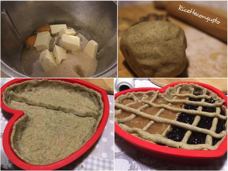 Cuore di crostata di grano saraceno e di riso integrale alle due confetture