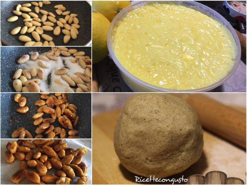 Crostata integrale con crema pasticcera e croccante di mandorle
