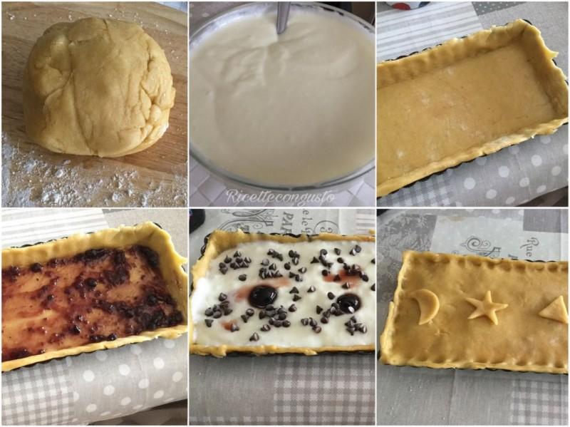Crostata di farro con crema al latte amarene e gocce di cioccolato