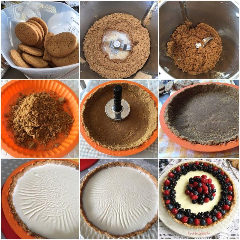 Crostata biscotto con panna cotta e frutti di bosco preparazione