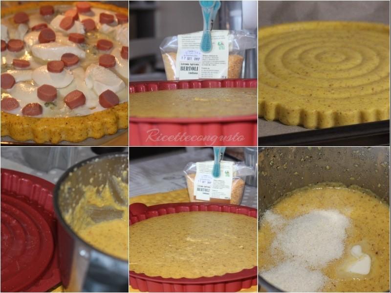 Crostata di polenta con formaggi e wurstell