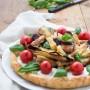 Crostata salata con tomini piemontesi, melanzane fritte e pomodorini