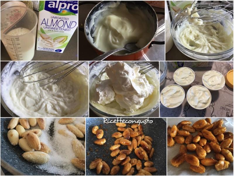 Biancomangiare con latte di mandorla cioccolato e croccante di mandorle
