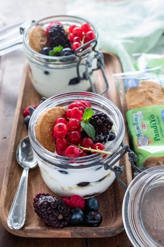 Dessert allo yogurt e ricotta con frutti di bosco