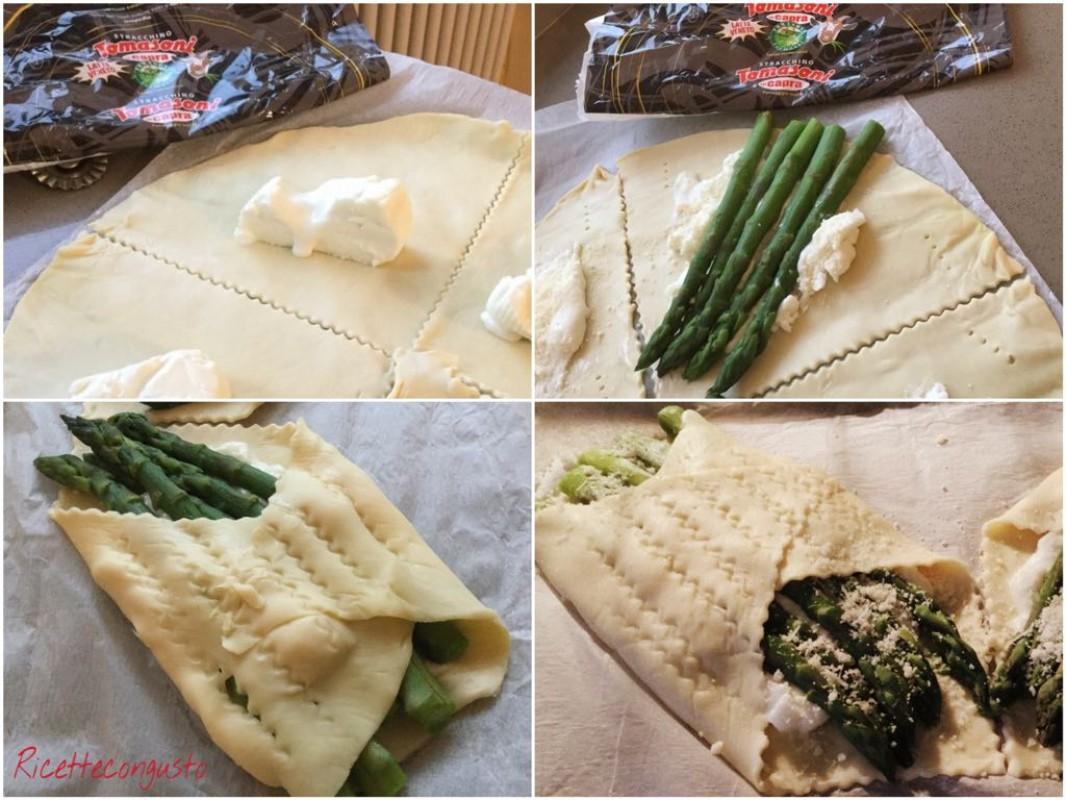 Fagottini con asparagi e stracchino di capra