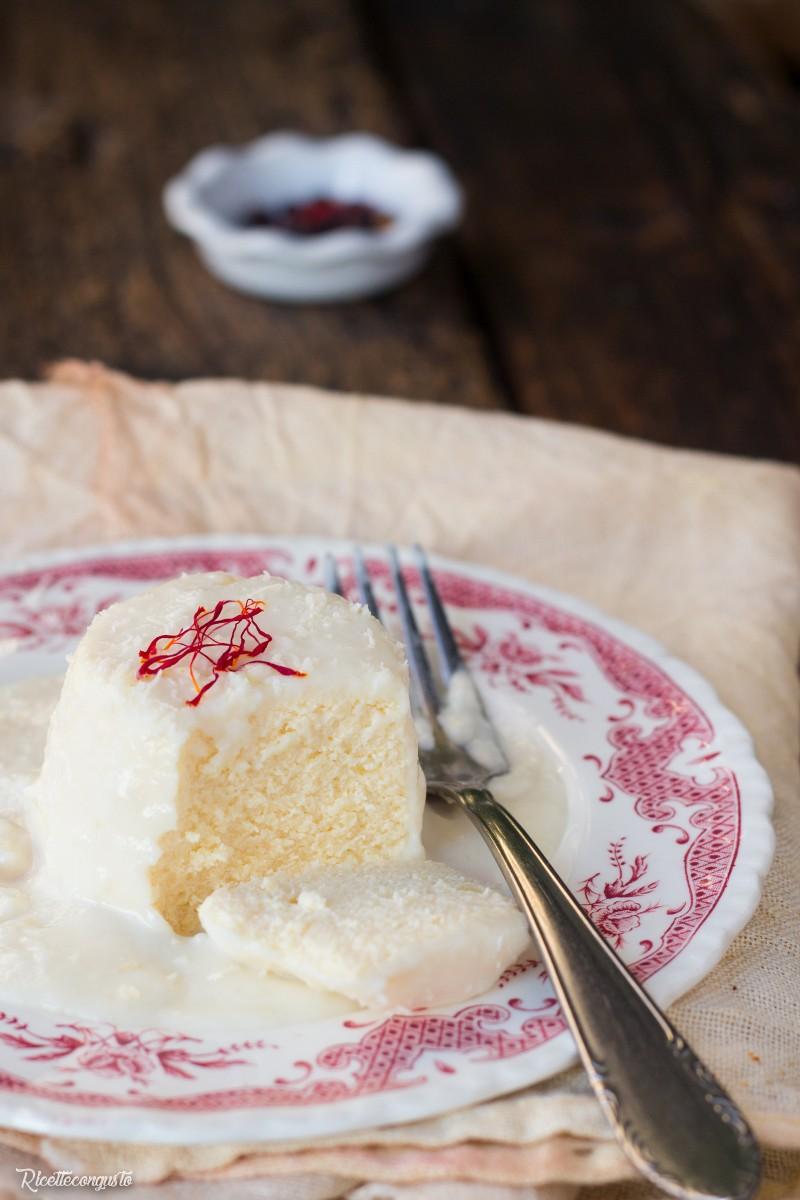 Flan di ricotta di Seirass (ricotta piemontese) con salsa al parmigiano