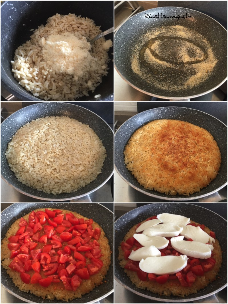 Frittata di riso senza uova al pomodoro e mozzarella