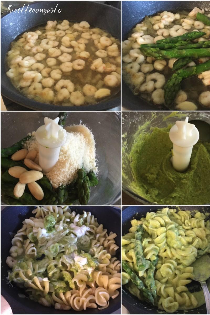 Fusilli con gamberetti e pesto di asparagi e mandorle