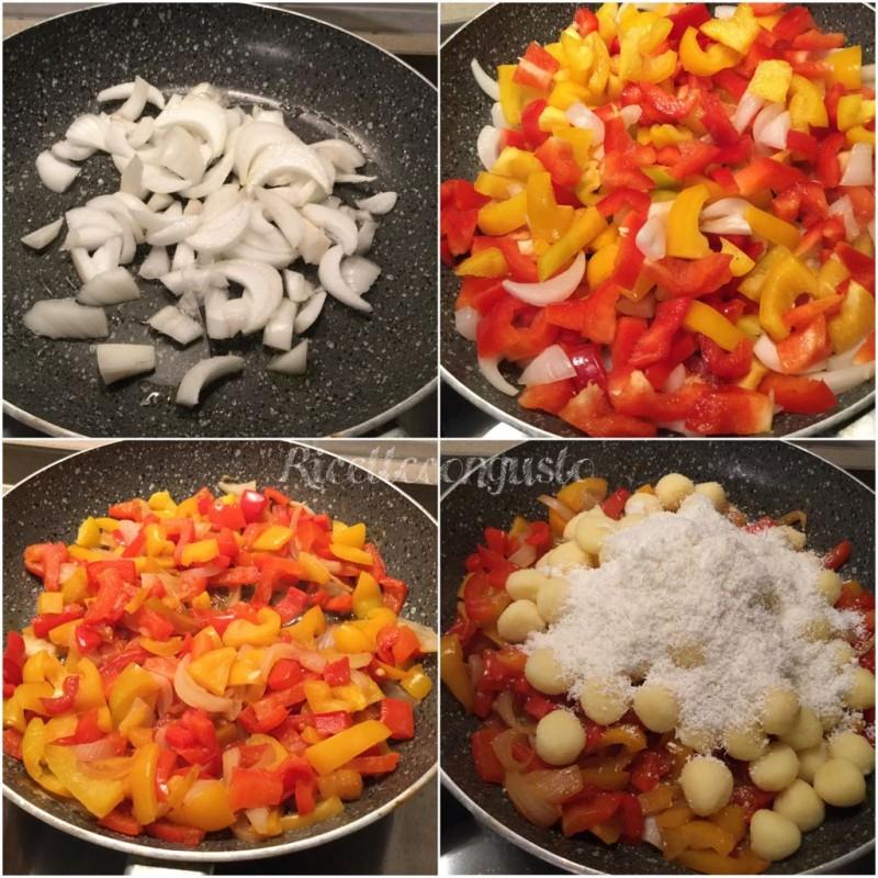 Gnocchi con peperoni e ricotta salata