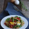Insalata di avena decorticata con asparagi e uova sode