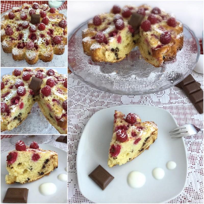 Margherita allo yogurt con lamponi e gocce di cioccolato
