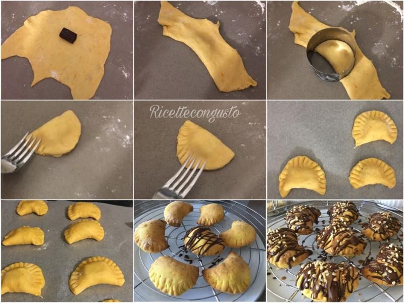 Mezzelune di zucca con cioccolato fondente e granella di nocciole