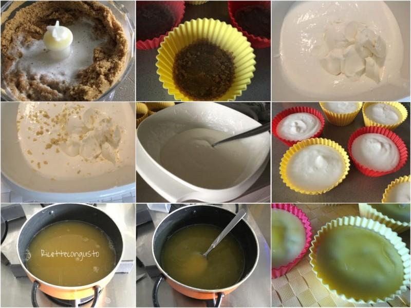 Mini cheesecake al limone e limoncello preparazione
