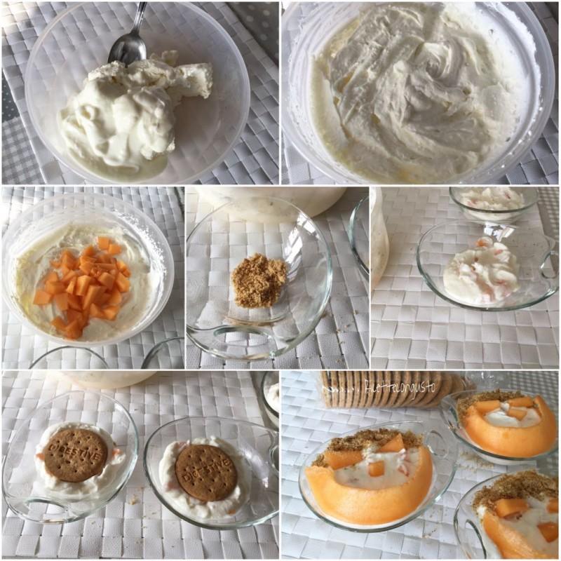 Mousse di ricotta e yogurt al melone