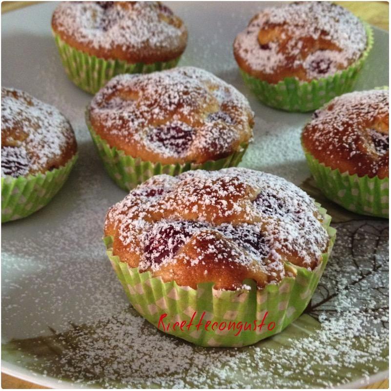 Muffin alle ciliegie senza uova e latte
