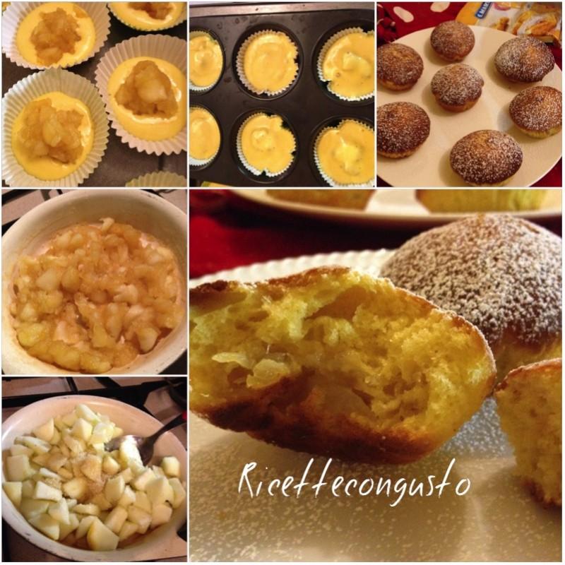 Muffins allo yogurt con cuore di mela
