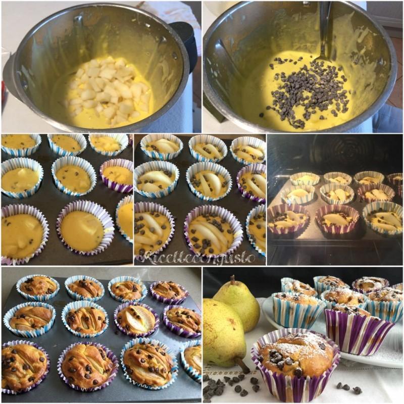 Muffin al latte caldo con pere e gocce di cioccolato