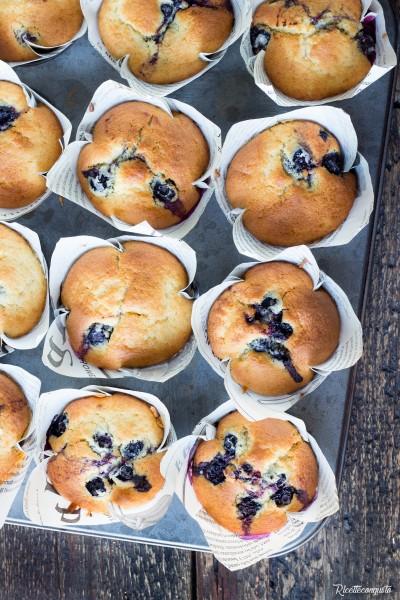 Muffins alla panna e mirtilli