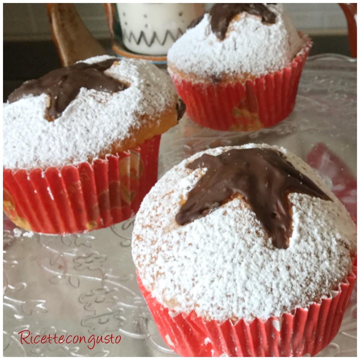 Muffin allo yogurt con cuore al cioccolato