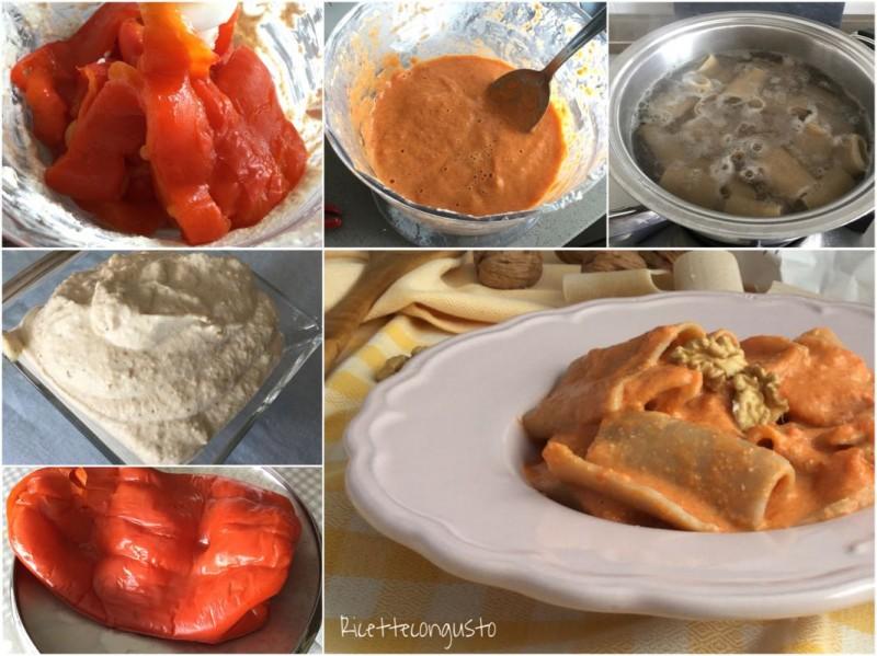 Paccheri in salsa di peperoni e noci