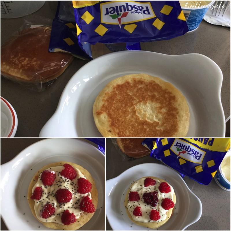 Pancake con yogurt greco lamponi e cioccolato