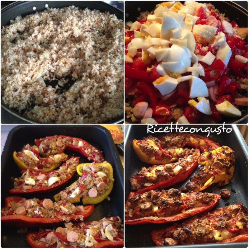 Peperoni ripieni con uova, würstel e pomodorini