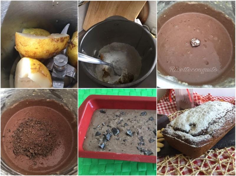 Plumcake doppio cioccolato con pere frullate e mandorle