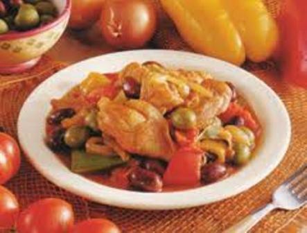 Pollo ai peperoni e olive