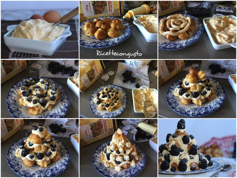 Profitterol tiramisù con more e mirtilli