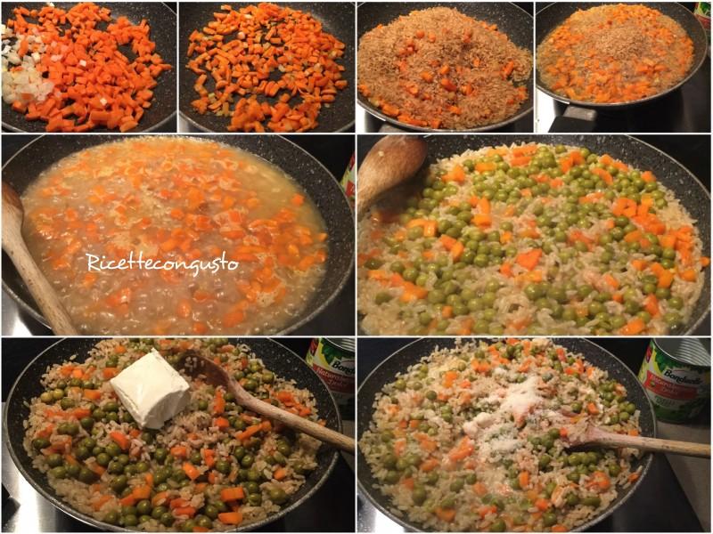 Risotto con piselli carote e robiola