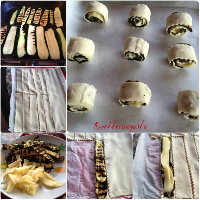 Girelle di sfoglia e zucchine grigliate