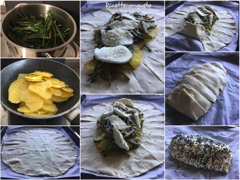 Strudel salato con asparagi selvatici, patate e mozzarella