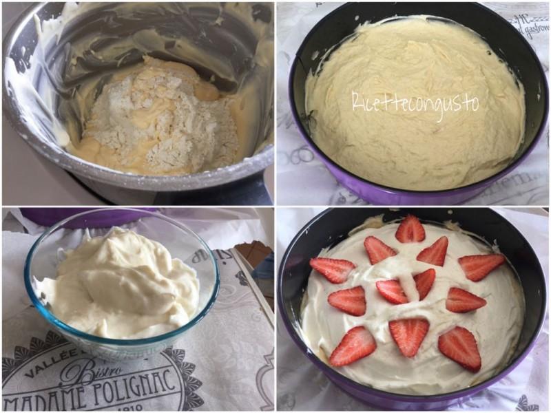 Torta con doppia crema di ricotta e fragole