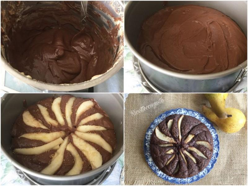 Torta con farina di riso e farro con pere e cioccolato