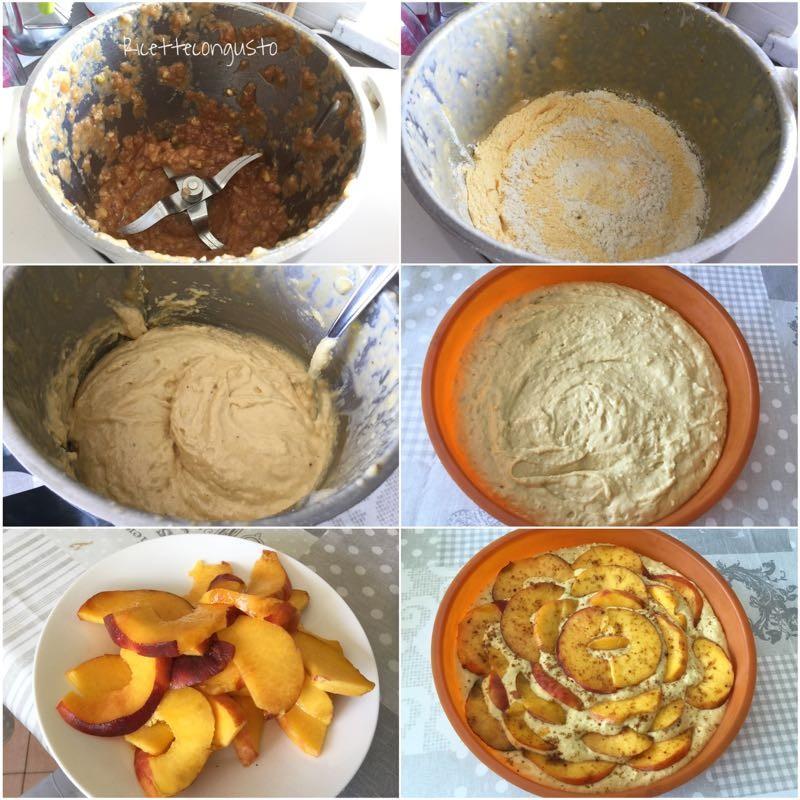 Torta frutta frullata e pesche