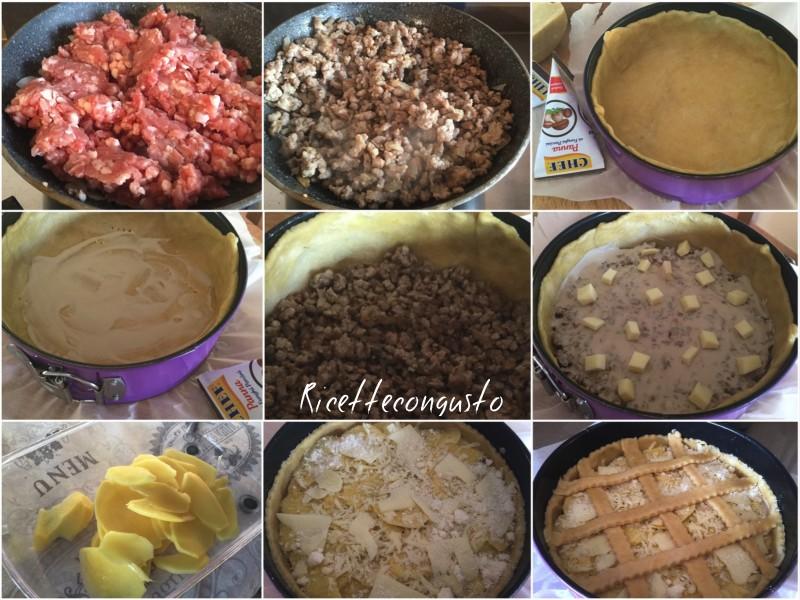 Crostata con frolla salata salsiccia patate e funghi