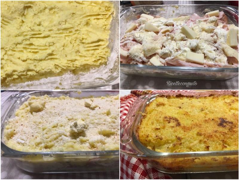 Tortino di patate con prosciutto di tacchino e scamorza affumicata