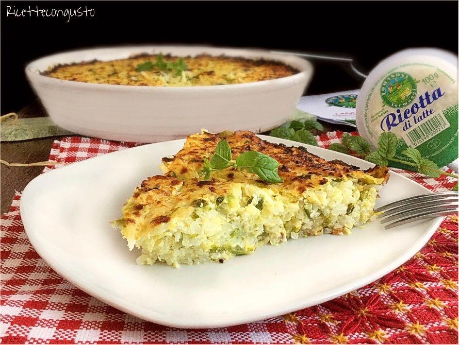 Tortino di riso con zucchine ricotta e menta