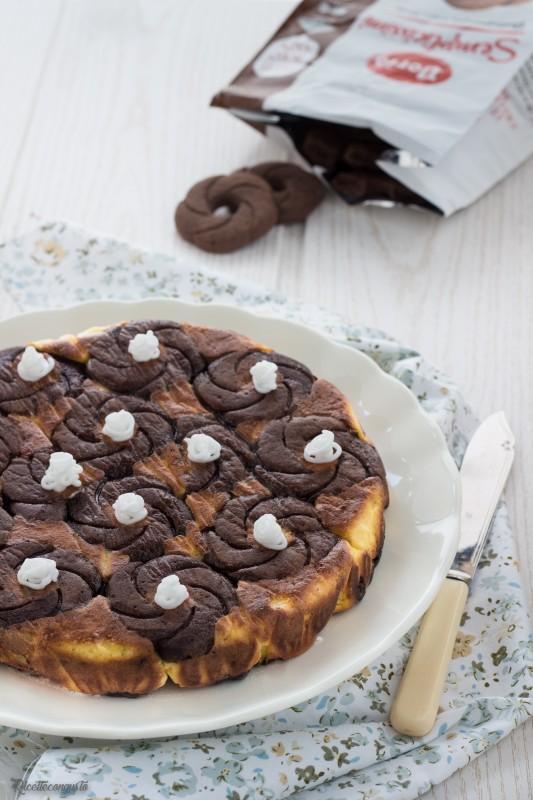Torta cheesecake al cioccolato biscottata