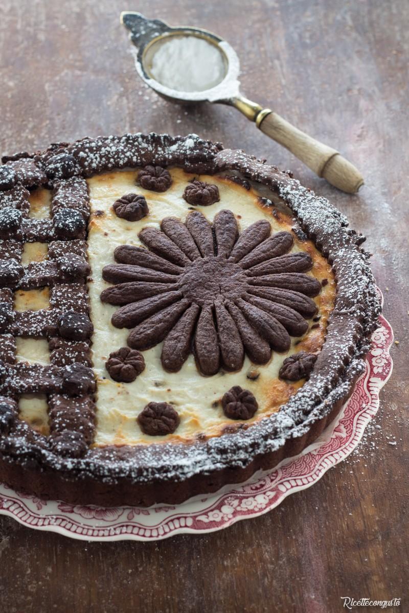 Crostata di frolla al cacao con crema di ricotta